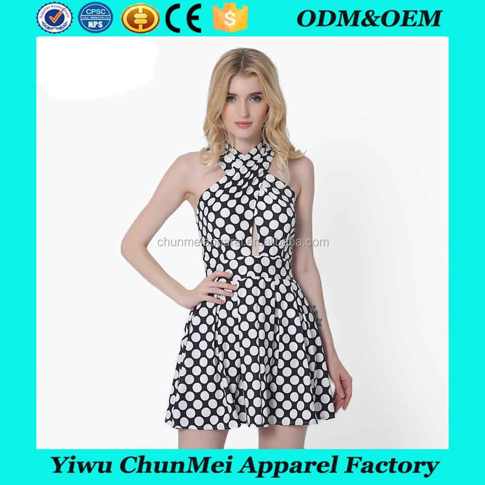 forever fashion dress for women spotty vintage dress back hollow out vintage clothing