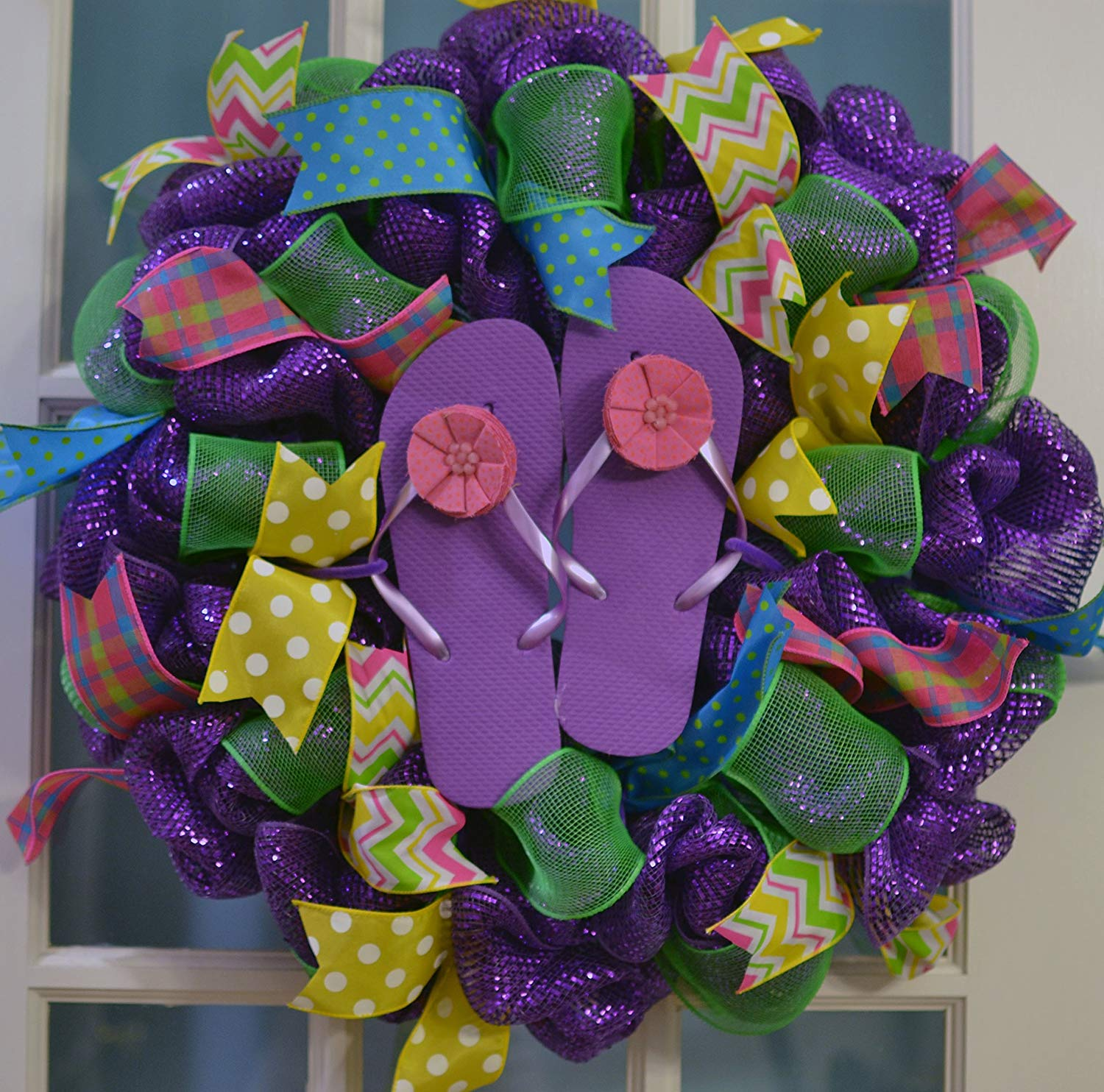 ea50590e5 Get Quotations · Summer spring beach lake ocean flip flop deco mesh wreath   Purple Yellow Lime Green Turquoise
