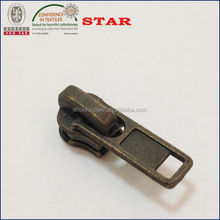 No.3 metal zipper puller DA slider antique brass color
