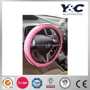 female cute pink diamond Car steering wheel cover