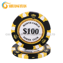 14g di Argilla 3-Tone Monte Carlo <span class=keywords><strong>Poker</strong></span> Chip Con Golden Trim <span class=keywords><strong>Sticker</strong></span>