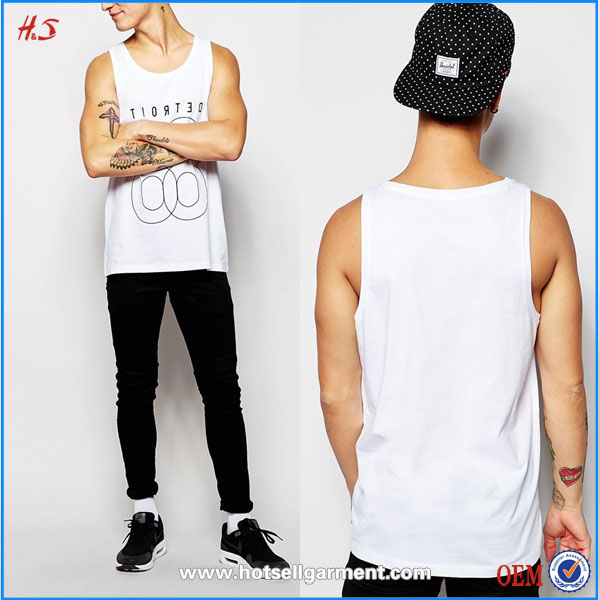 Men fashion wholesale price casual wear white tank tops in bulk men knit cotton gym tank top with typographic print