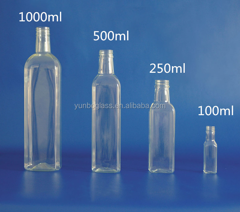 Factory Clear Marasca Square Olive Oil Glass Bottle For