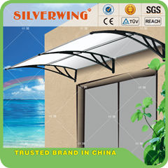 Easy Manual Type Aluminum Metal Polycarbonate Freestanding Awning With Water Gutter Bracket For Front Door