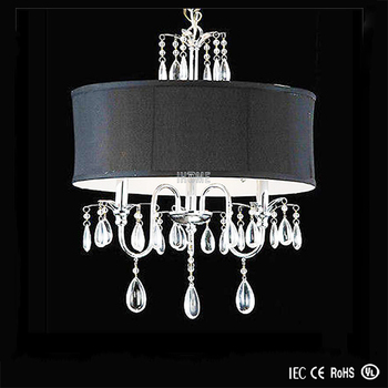Black Drum Shade Crystal Chandelier Pendant Light With Lamp Ih 7104