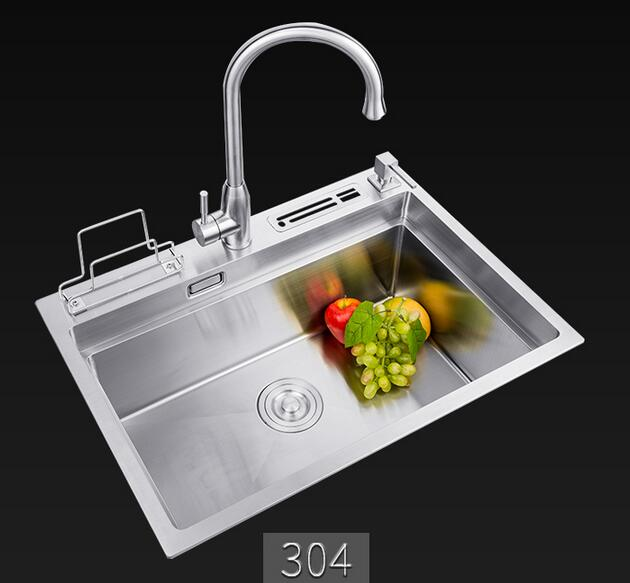 High quality single bowl 304 stainless steel rectangular Brush kitchen hand sink with Faucet and strainer