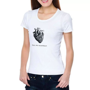 Women Beating Heart Printing O-Neck Short Sleeve T shirt With Pattern