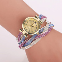 CCQ Fashion Women Dress Watch Luxury Crystal Gold Bracelet Watch Braided Leather Wristwatch Casual Women Girl Quartz Watch
