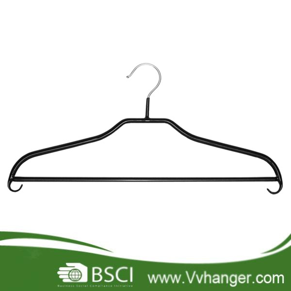 MHP025 PVC coating black metal clothes hanger with build in hooks