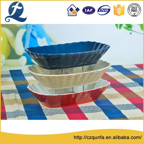 3pcs ceramic ruffle edge colorful rectangle glazed bakeware set