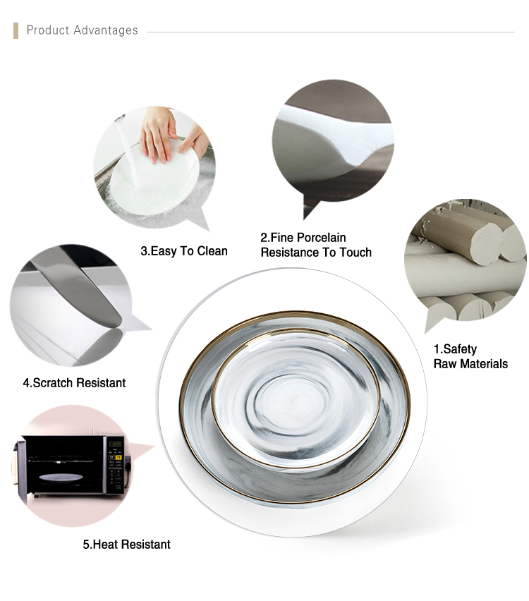 Best Selling Gold Rim Grey Flat Round Ceramic Porcelain Marble Charger Plate, European Gold Rim Grey Marble Dish,  Marble Plate^