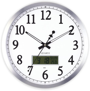 double display with lcd calendar quartz analog metal wall clock