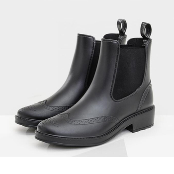 Black fashion ankle handmade rain boots for lady