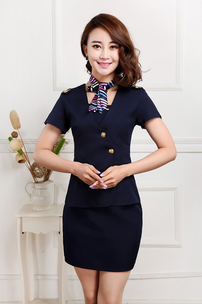 summer short sleeve design airline uniforms airline hostess uniform