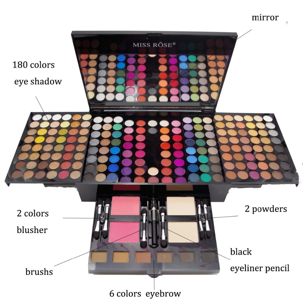 MISS ROSE Professional 180 Colors Glitter Eyeshadow Palette Powder With Mirror Eye Make Up Kit