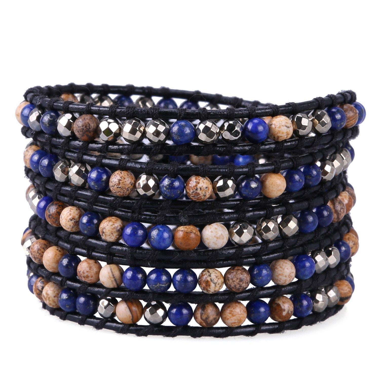 KELITCH Handmade Wrap Bracelets Mixed Healing Hematite Beads on Black Natural Leather Chain
