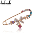 Hijab Pins Rose Gold Safety Pin Brooch Jewelry Fashion Luxury Rhinestone Men Brooches For Suit Scarves