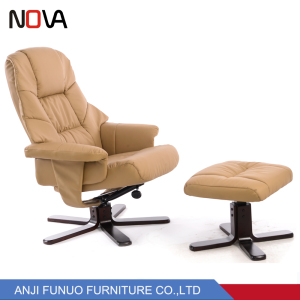 Modern overstuffed leather recliner leisure chair/tub chair for TV room