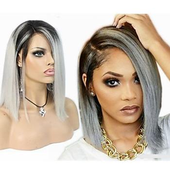 Heißer Verkauf Grau Ombre Haar Farbe Menschliches Haar Kurzen Bob Spitzeperücke Versandkostenfrei Buy Menschlichen Haar Kurz Bob