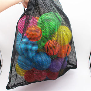 Black nylon drawstring mesh ball bag pouch with drawstring packaging pouches