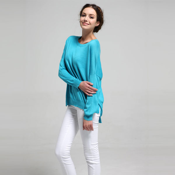 Blue Cashmere Sweater Woman's Women's Boat Neck Pullover - Buy ...