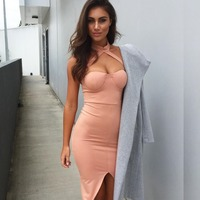 JS 20 Top Quality Eco-Friendly Bandage Sexi Halter Dress For Women Young Ladies 1751