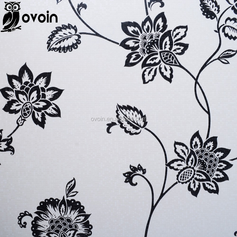 Mosaik Latar Belakang Hitam Putih Glitter Floral Wallpaper Untuk