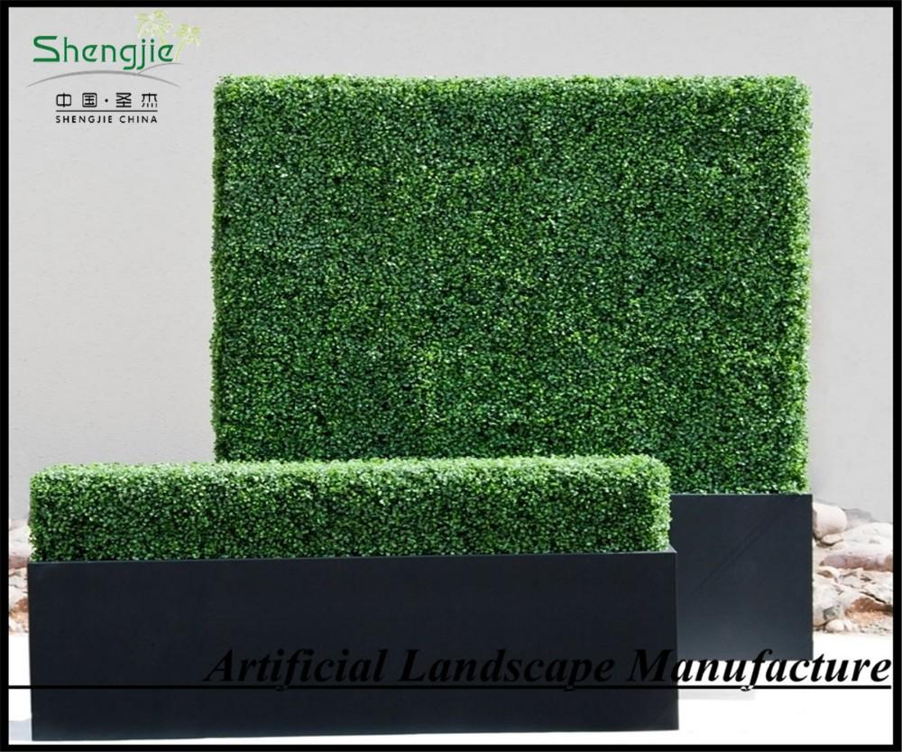 Gras muur, gras hekken, kunststof buxus haag met zwart planter ...