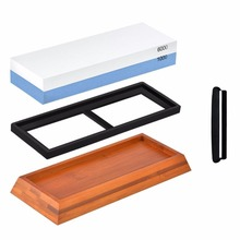 Sharpening Stone, Professional Double-Sided Grit 1000/6000 Whetstone Knife Sharpener Set with non-slip bamboo base and free angl
