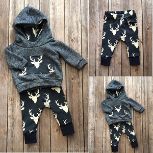 2017 Children hooded clothes set Posh Teal Reindeer Long Sleeve Hooded Tops Pants Outfit Baby Christmas Suit baby Jogging Suit