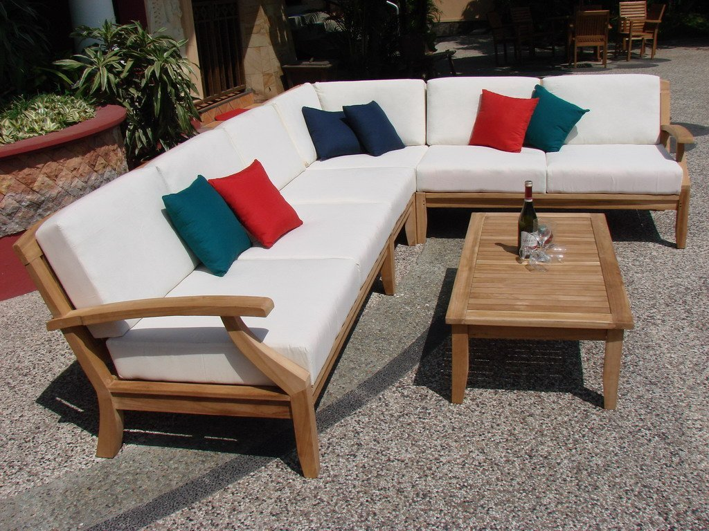 New Luxurious 7 Piece Teak Sectional Sofa Set - 2 Love Seats, 2 Lounge Chair, 1 Corner Pc, 1 Coffee Table & 1 Side Table -Furniture only-- Samurai collection #WFSSSSM4