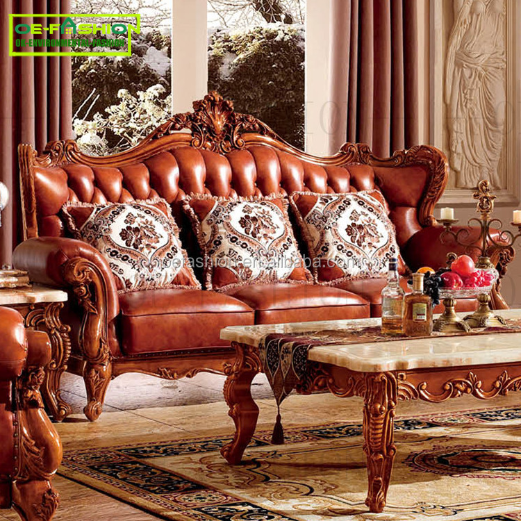 OEFASHION French Provincial Style Furniture Oak Wooden Frame modern classic <strong>sofa</strong> A11