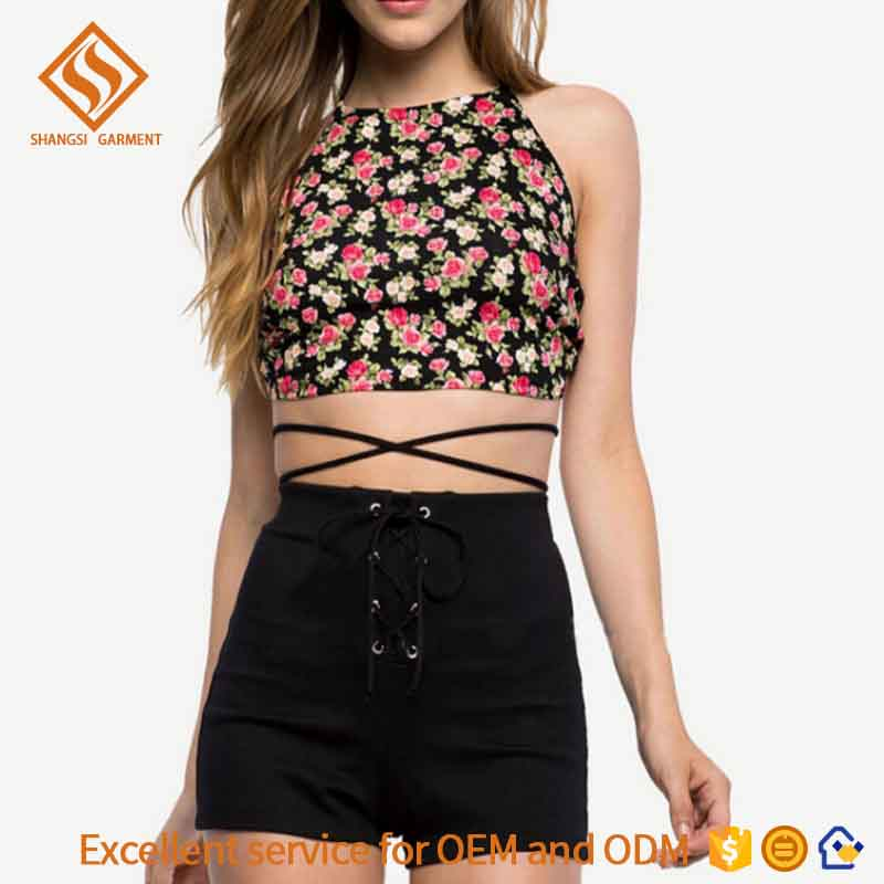 women sexy shorts black lace up high waist