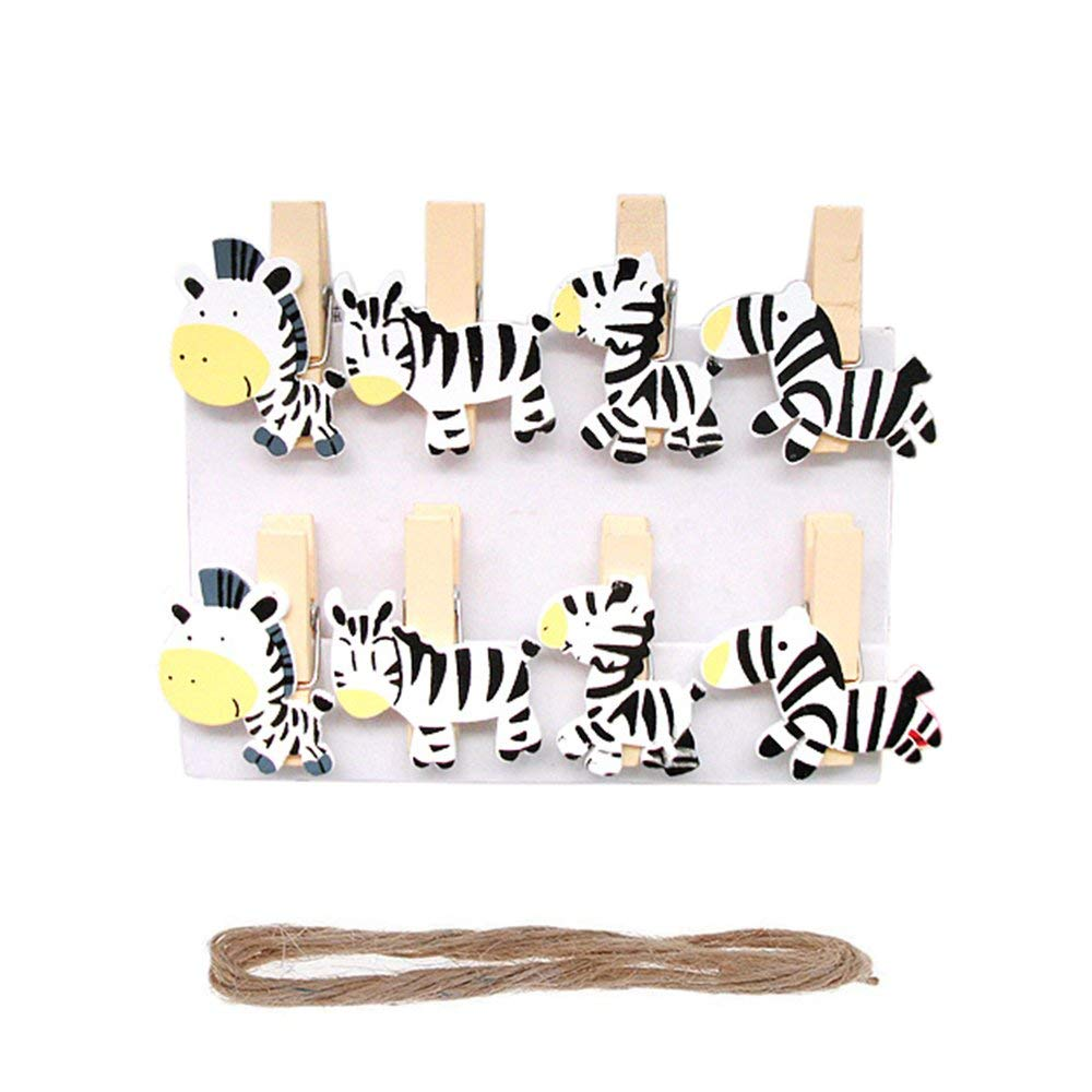 Vpang 40 Pcs Mini Natural Wooden Cartoon Zebra Clothespins Photo Paper Card Peg Pin Craft Clips with Jute Twine