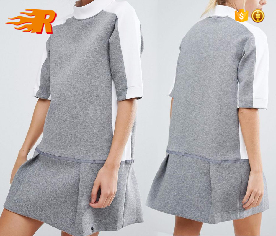 OEM Hot Sale High Fashion Court Sweat Dress With Collar and Drop Waist