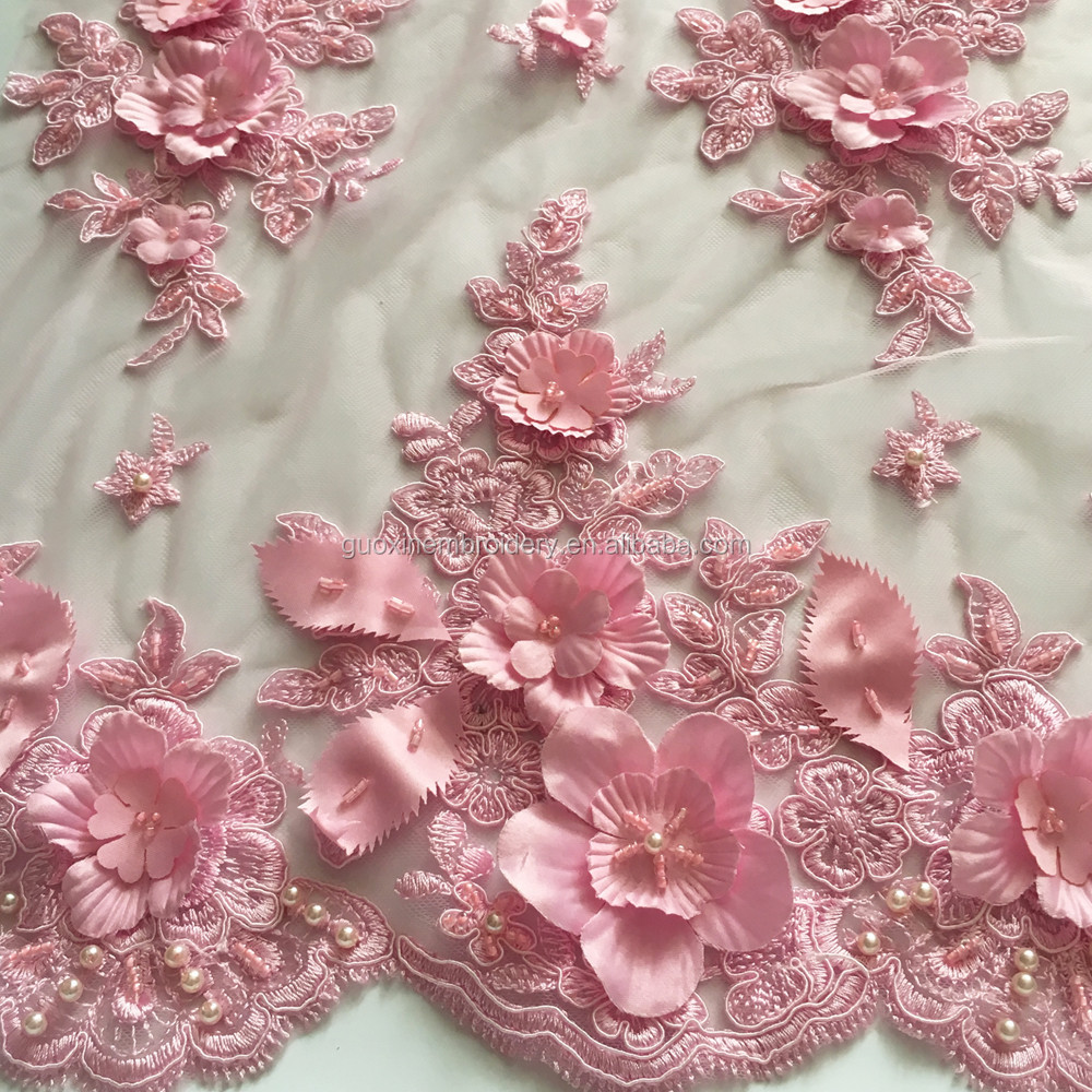 2016 Beautiful Nice tulle 3D lace fabric with applique flower wholesale