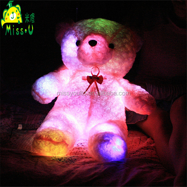 High Quality Stuffed Customized Soft Night Lighting Bear Plush LED Toys For Valentines Gift