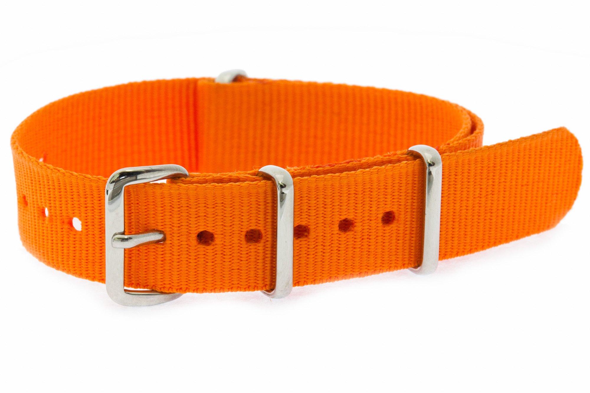 16mm [ Solid Orange ] Nylon Nato Band Military Watch Strap G10