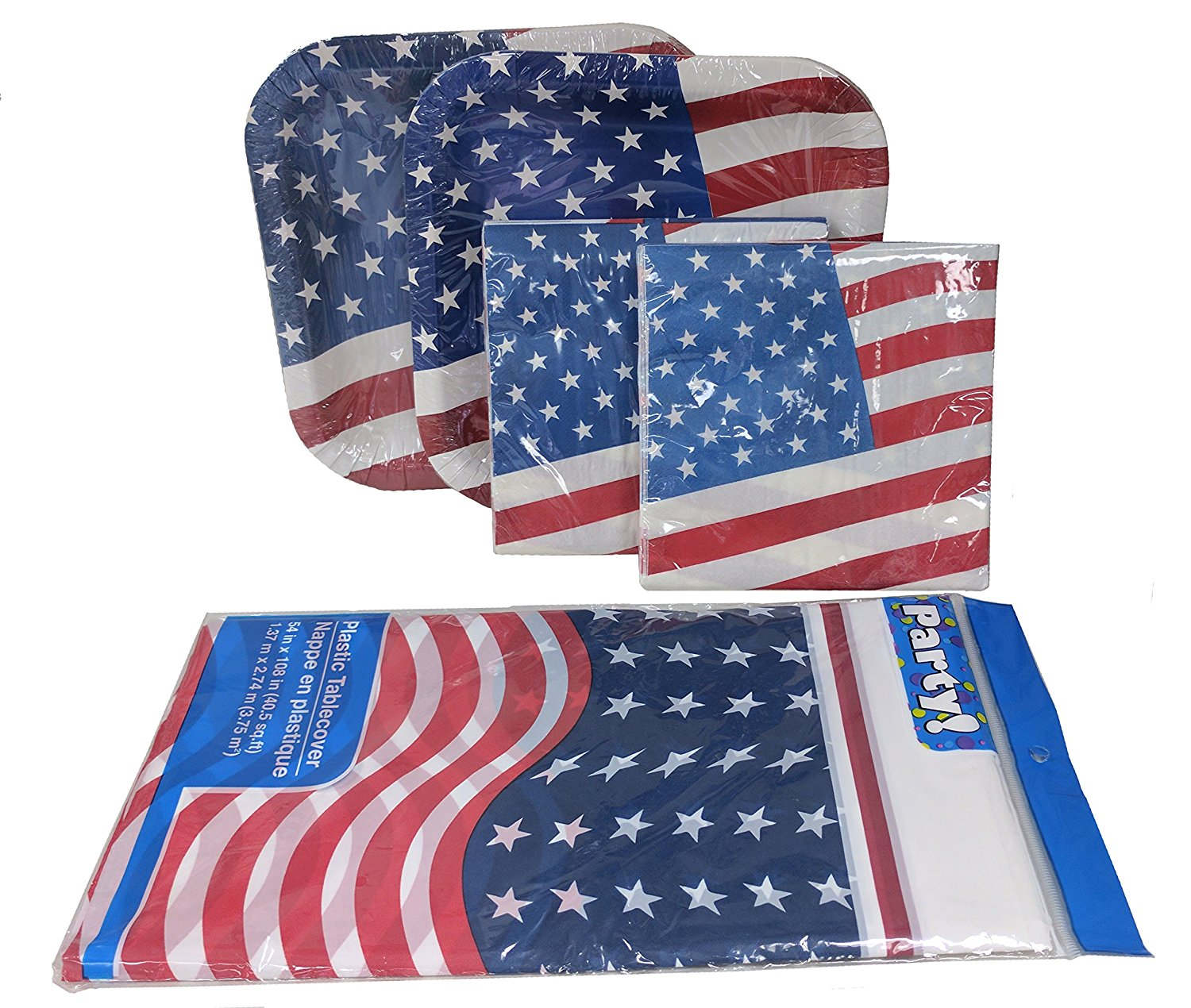 4th Of July Party Pack Bundle - 28 Patriotic Plates - 40 Patriotic Napkins and 1 Patriotic Tablecloth