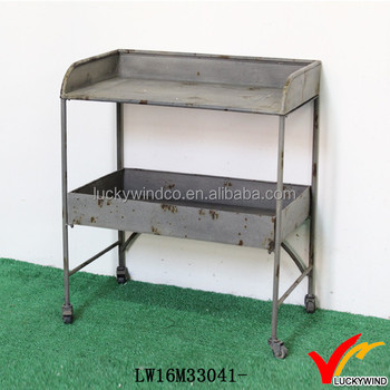 Nice Gray Vintage Industrial Metal Console Table With Casters