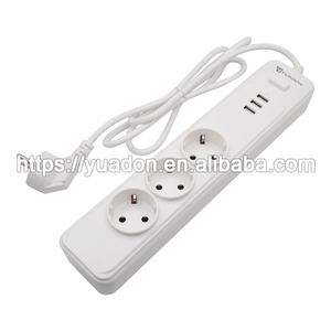 round pin eu standard smart power strip with usb ports/extension socket