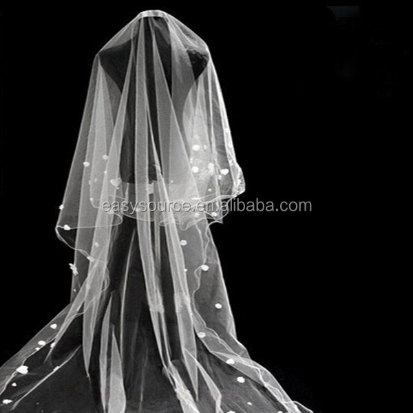 new hot sale 3 meters tulle applique train lace cathedral white One-layer wedding bridal veils