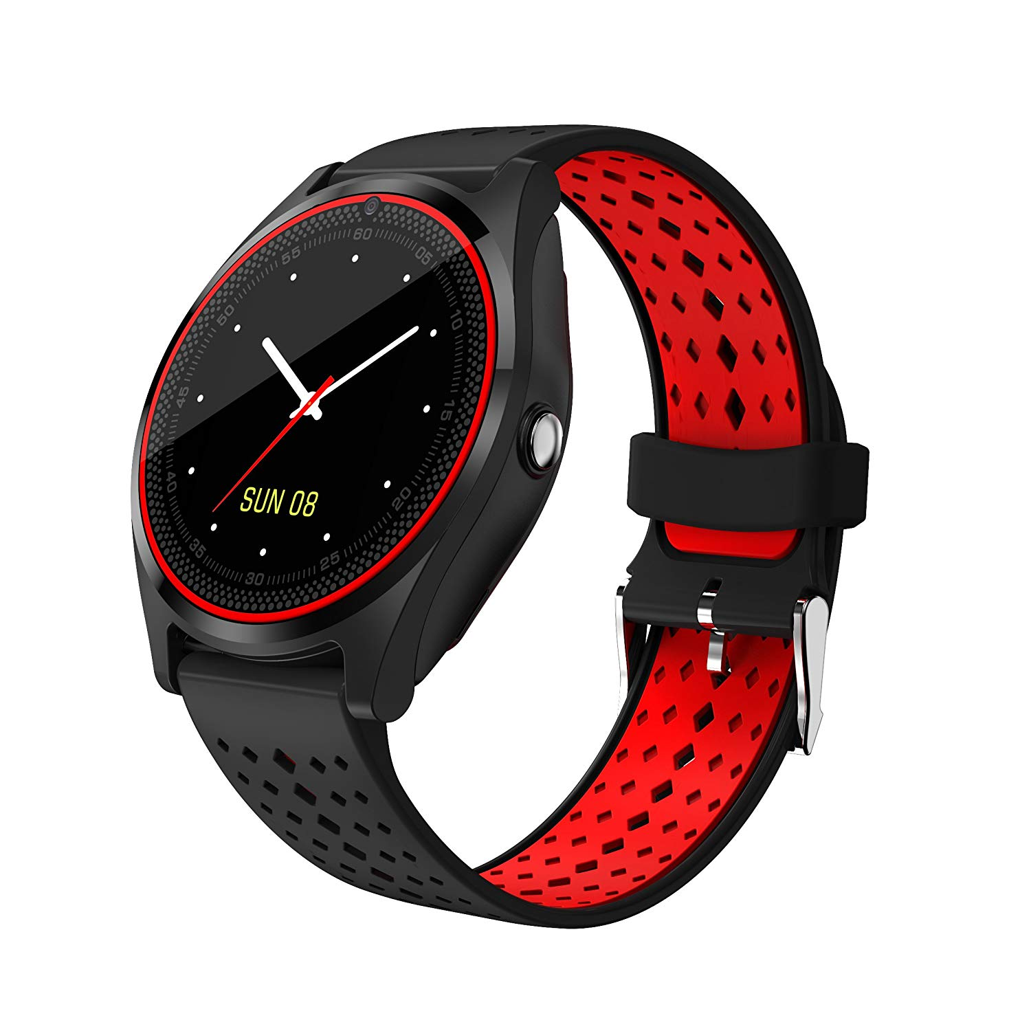 Multi-function V9 smart watch, touch screen Bluetooth watch support SIM and TF card health assistant smart watch for iPhone iOS Samsung and Android (Black+Red)