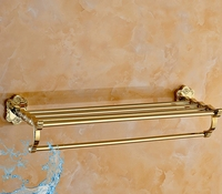 Art Carving Household Hotel Bathrooms Accessories Wall Mounted Gold Towel Rack BM15288 Towel Shelf