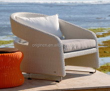Light Elegant design with archy open back and sled base bistro use wicker club chair