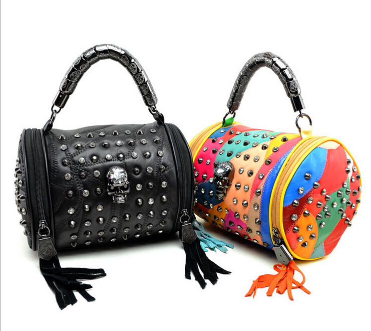 Get Quotations Cool Punk Sheepskin Sching Handbags Crystal Skull Orange Drums Personalized Color Bag Free