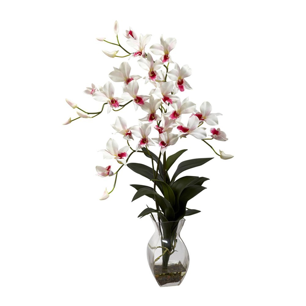 Nearly Natural Home Indoor Decorative Tabletop Dendrobium Orchid With Vase Arrangement White