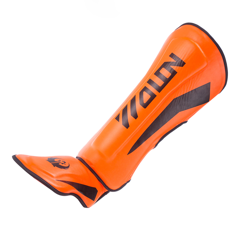 <strong>Orange</strong> S/M/L Special Muay Thai Shin Pad PU Leather Shin Guard