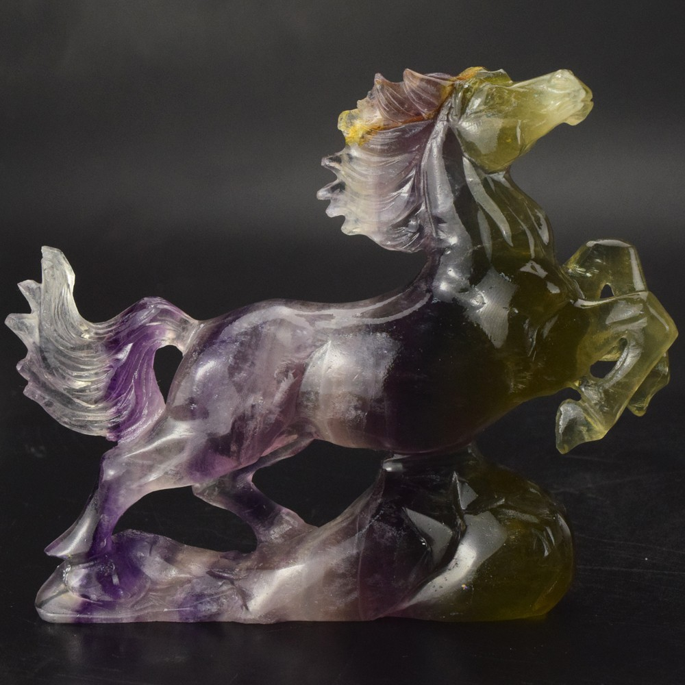 wholesale 4 inch natural fluorite carved horse, crystal figurine horse for decor