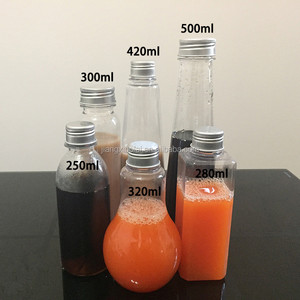 Wholesale clear empty fruit juice bottle for fresh fruit with screw lid